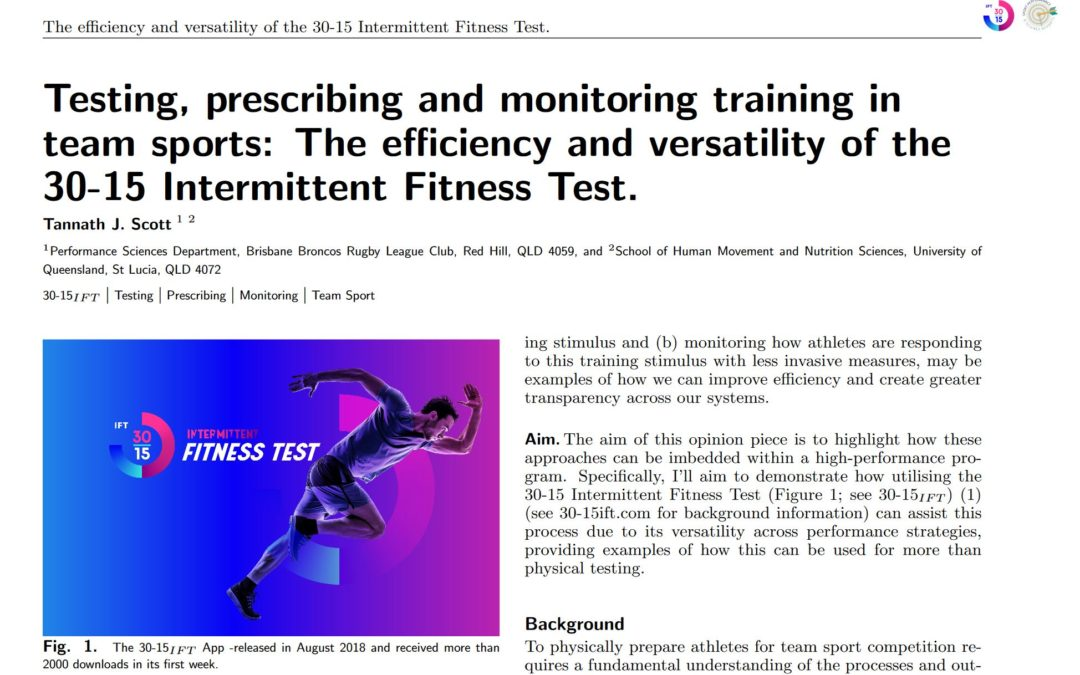 The efficiency and versatility of the 30-15 Intermittent Fitness Test